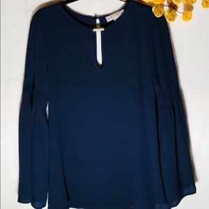 Michael Kors top, navy blue with gold detailing